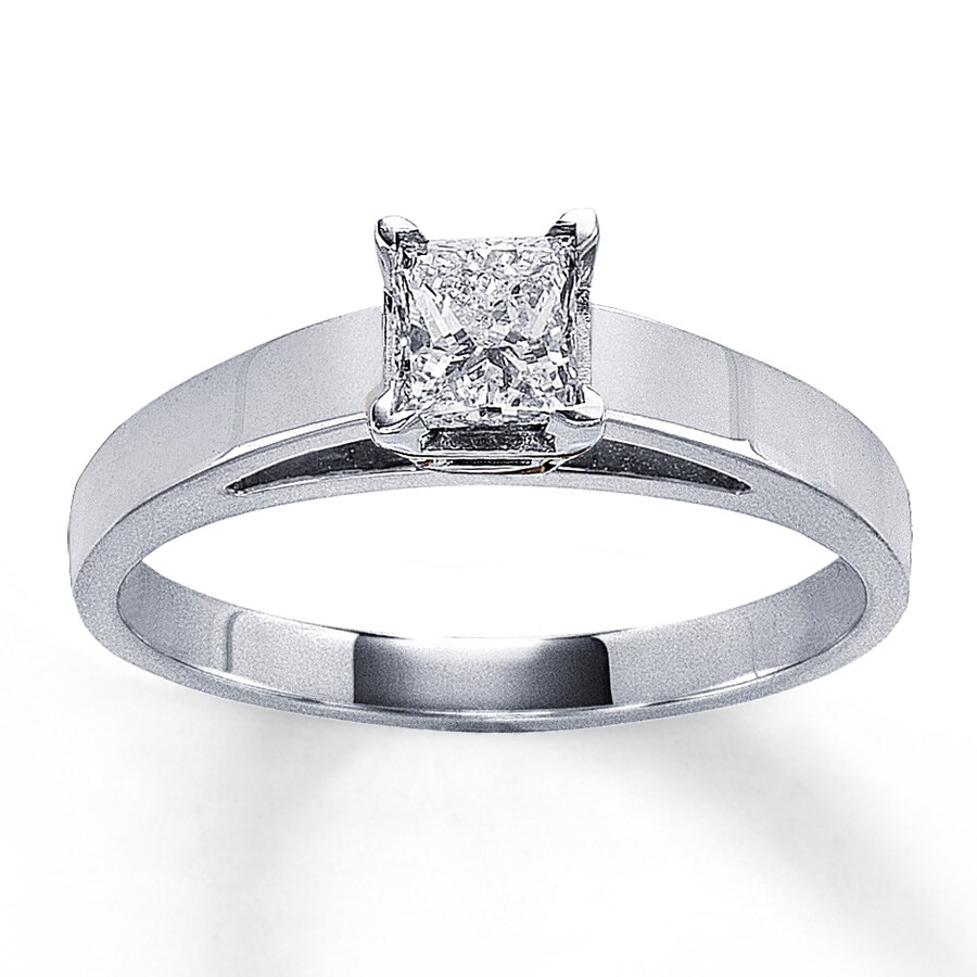 jared solitaire ring 1 2 carat princess cut 14k