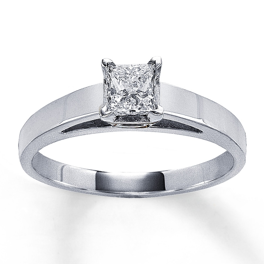 14K White Gold 12 Carat Princess-Cut Diamond Solitaire