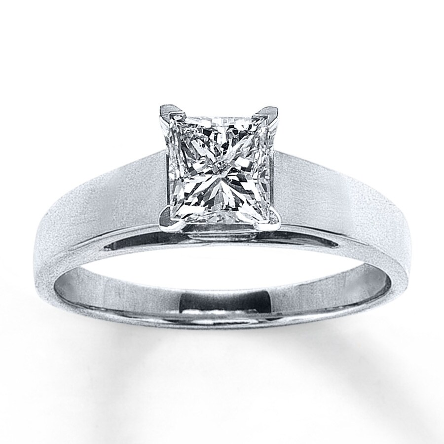 14K White Gold 1 Carat Princess-Cut Diamond Solitaire