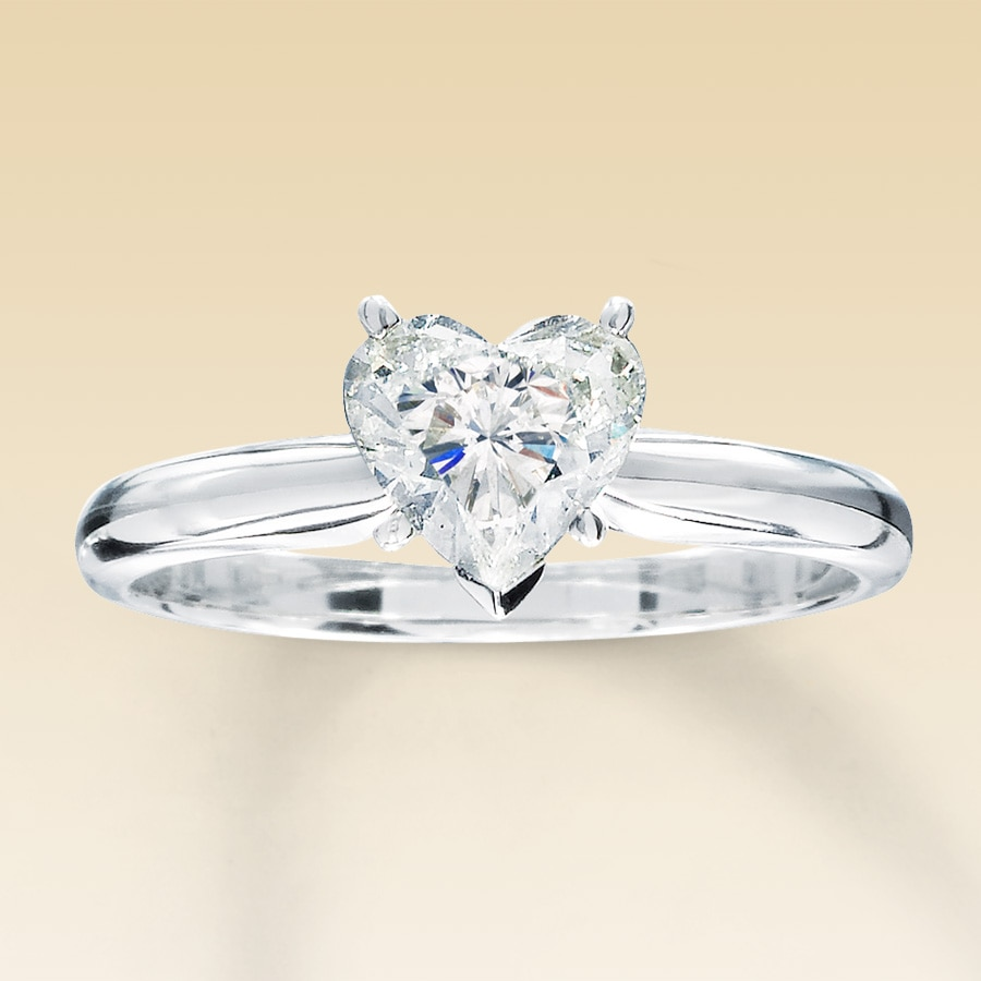 jared diamond solitaire ring 1 carat heart shaped 14k