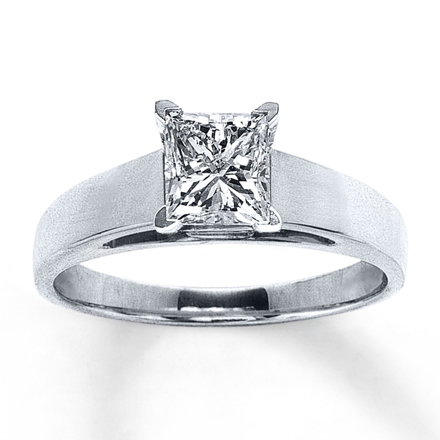 Jared Diamond Solitaire Ring 114 ct tw Princesscut 14K White Gold