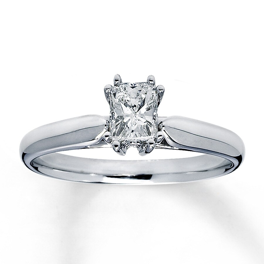 Diamond Solitaire Ring 1 2 carat Radiant-Cut 14K White Gold ... 67a9c8adb8fd