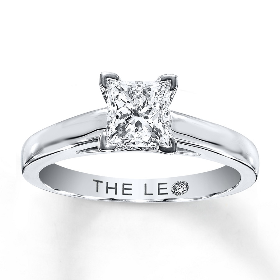 Email Leo Diamond Solitaire 1 ct Princess-cut 14K White Gold Ring