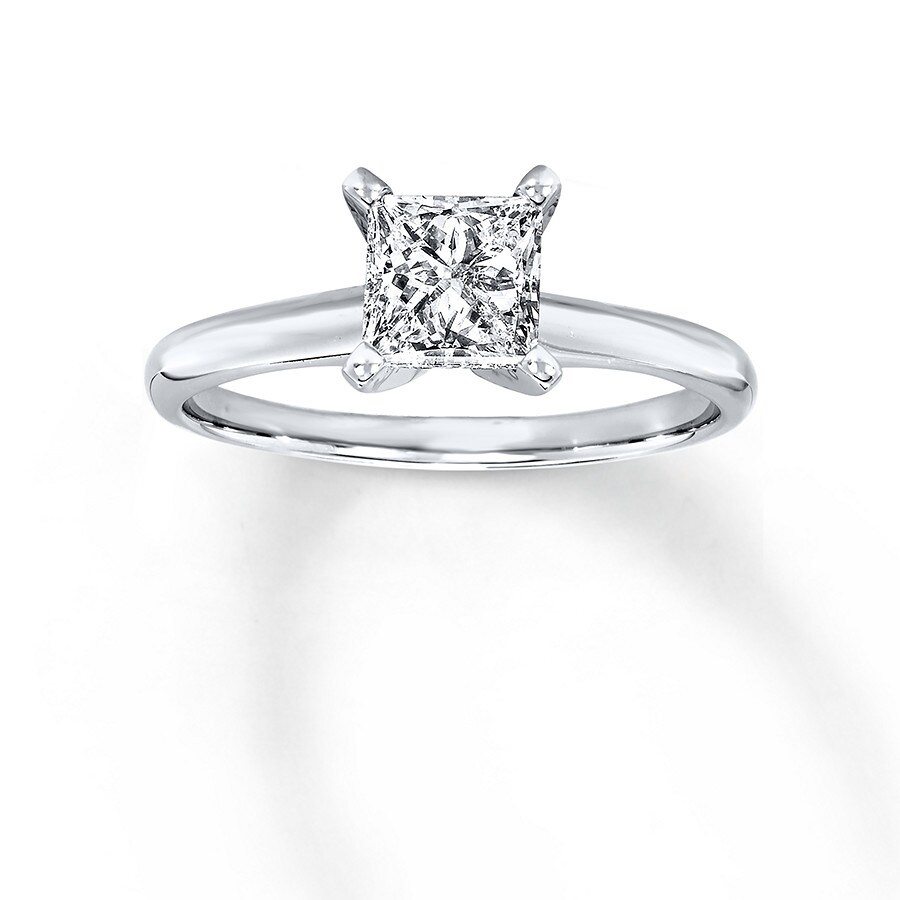 ed43aa8ad Diamond Solitaire Ring 1 carat Princess-cut 14K White Gold. Stock  #161305507 Write A Review. Tap to expand