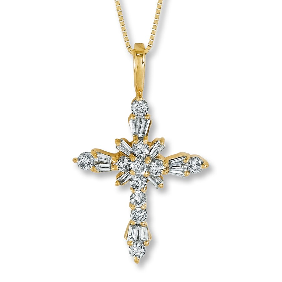 Jared diamond cross necklace 1 ct tw round cut 14k yellow gold hover to zoom mozeypictures Gallery