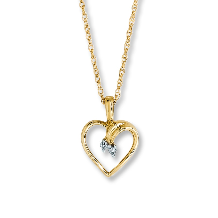Jared Heart Necklace with Diamond Accents 10K Yellow Gold