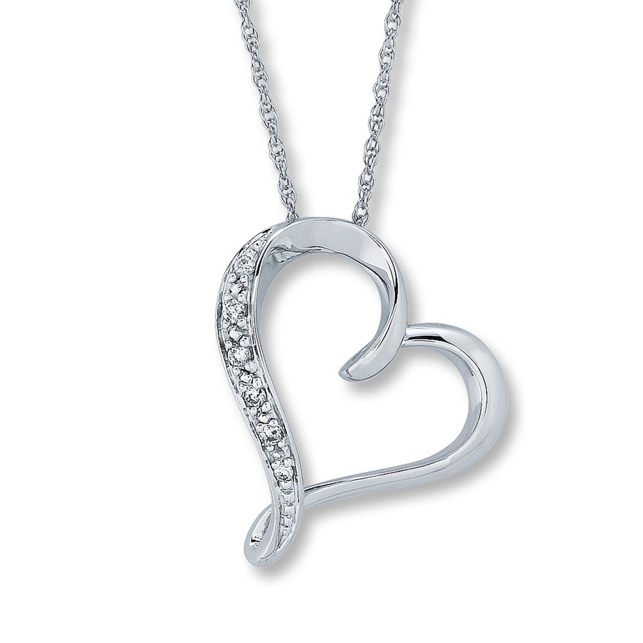 Jared Diamond Heart Necklace RoundCut 10K White Gold