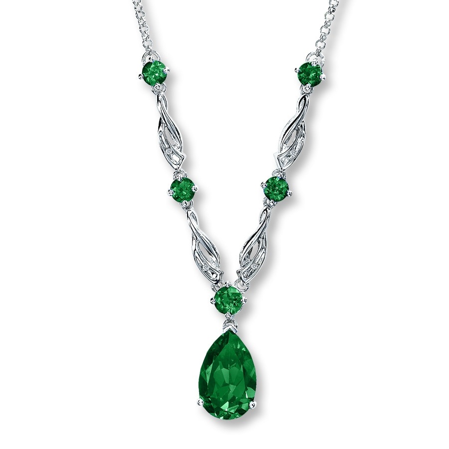 sterling fancy peardrop emerald necklace cz silver