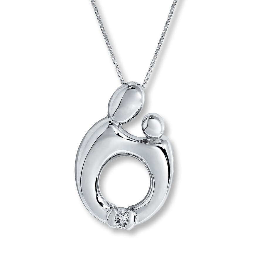 silver tw sterling heart diamond necklace product pendant in mother and child