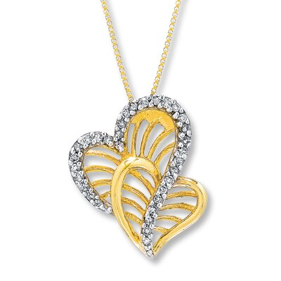 Jared Diamond Heart Necklace 1/10 ct tw Round-Cut 10K Yellow Gold- Fashion