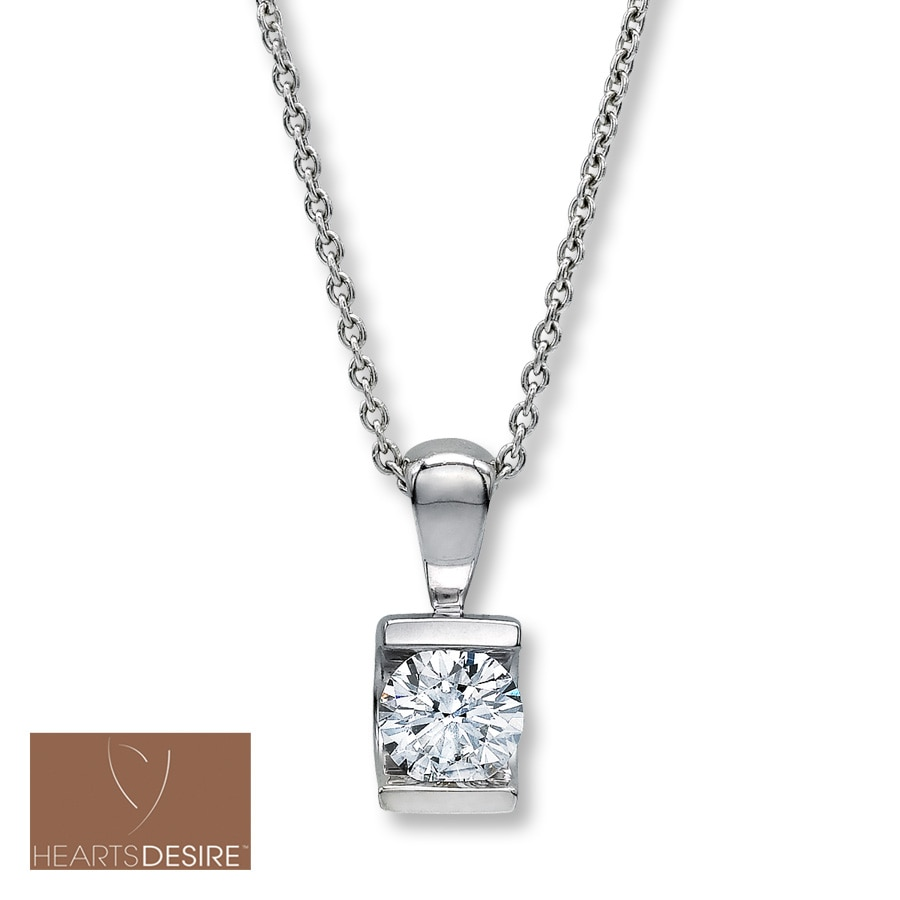 diamond pendant carat necklace large l sterling heart solitaire shape