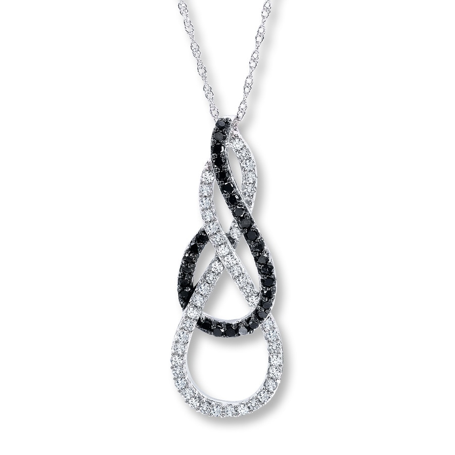 Jared Black White Diamond 12 ct tw Necklace 10K White Gold