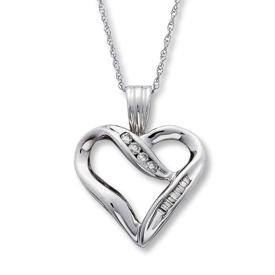 White gold pendant white gold necklace heart 10k white gold 18 carat tw diamond heart necklace aloadofball Images