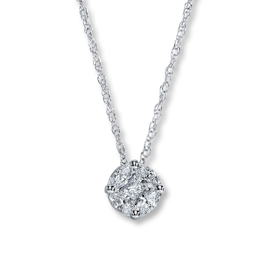 Jared Diamond Necklace 14 Carat tw 10K White Gold