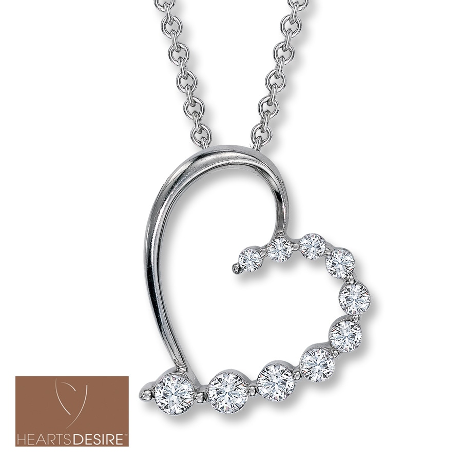Jared Diamond Heart Necklace 12 ct tw Round IdealCut 18K White Gold