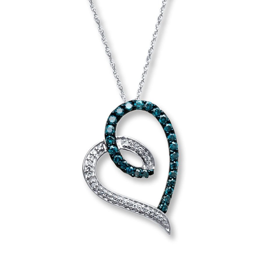 Jared bluewhite diamonds 12 ct tw heart necklace 10k white gold hover to zoom audiocablefo