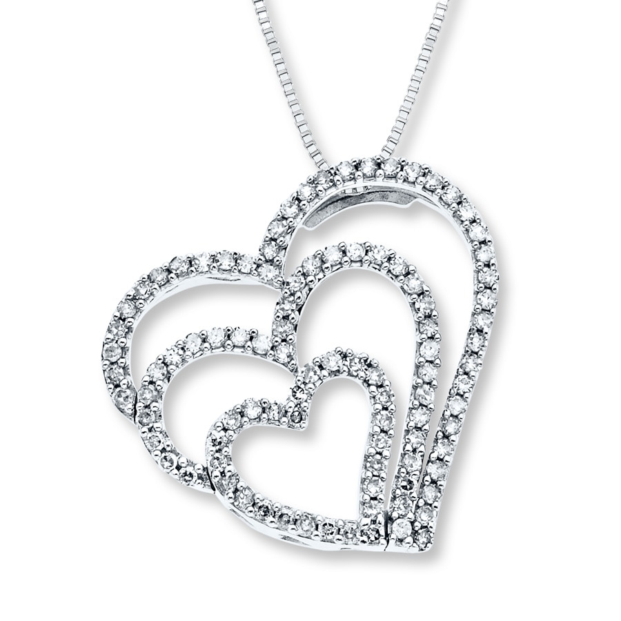 Jared diamond heart necklace 12 ct tw round cut 14k white gold hover to zoom aloadofball Choice Image
