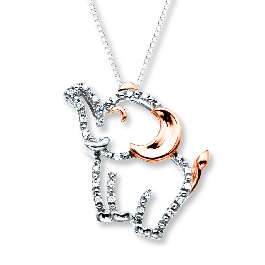 elephant necklace 1  20 ct tw diamonds sterling silver  10k gold - 172552402