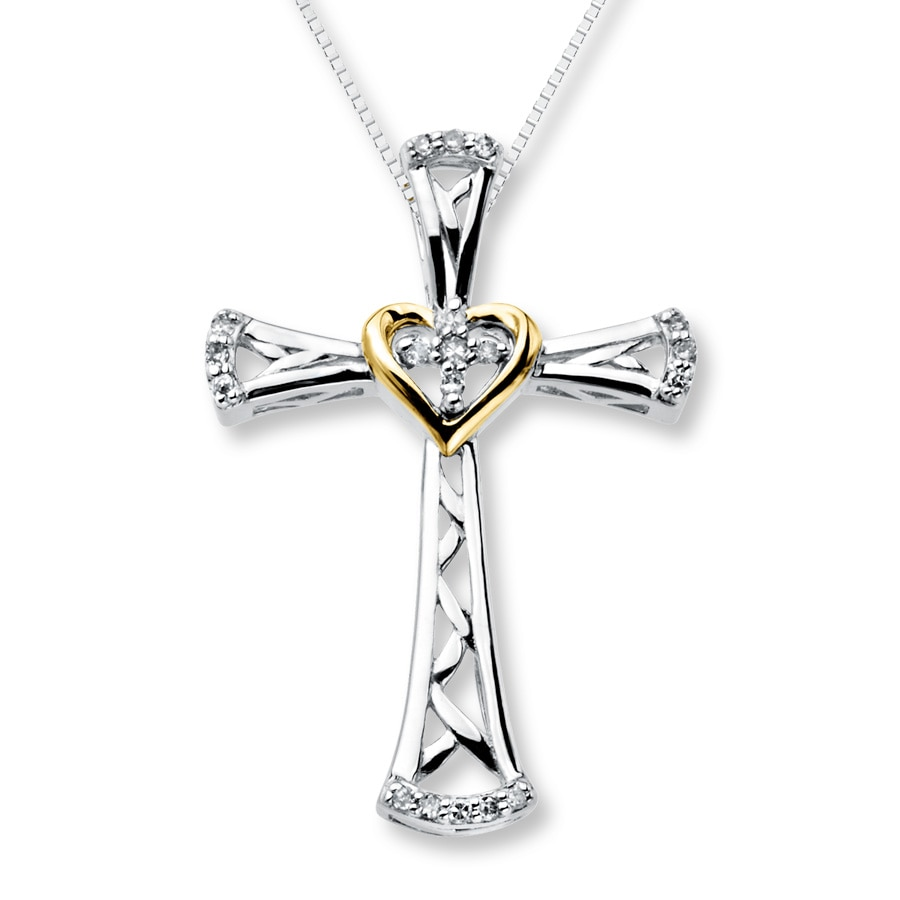 Jared Diamond Cross Necklace 110 ct tw Sterling Silver10K Gold