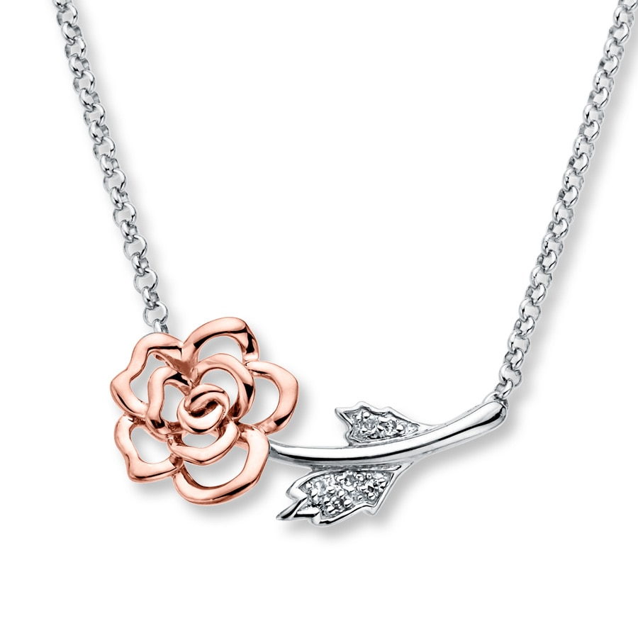 Rose Necklace Diamond Accents Sterling Silver 10k Gold