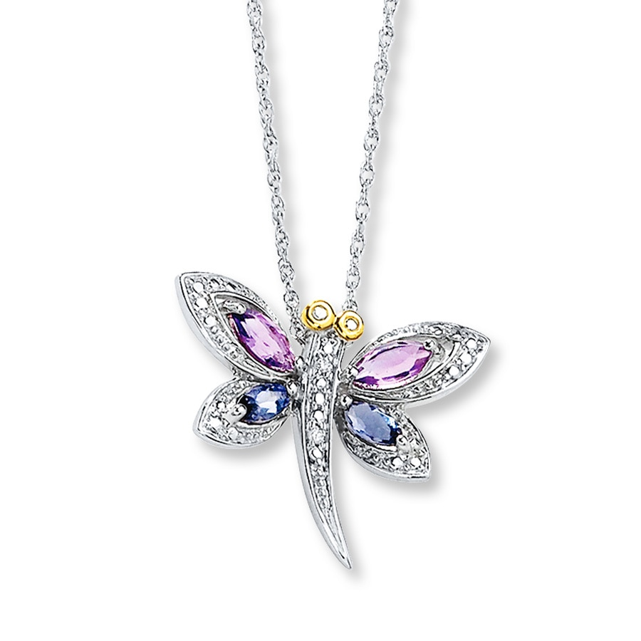 dragonfly necklace amethyst  iolite sterling silver  14k gold - 172655300