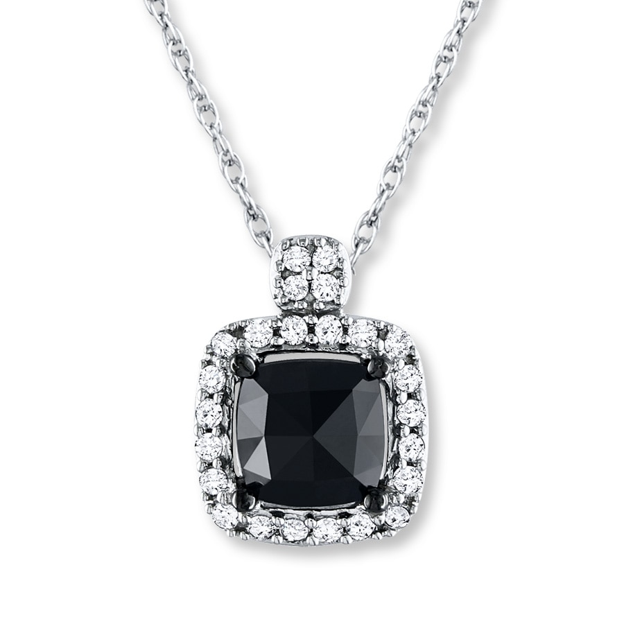 Jared Black Diamond Necklace 1 ct tw Cushioncut 14K White Gold