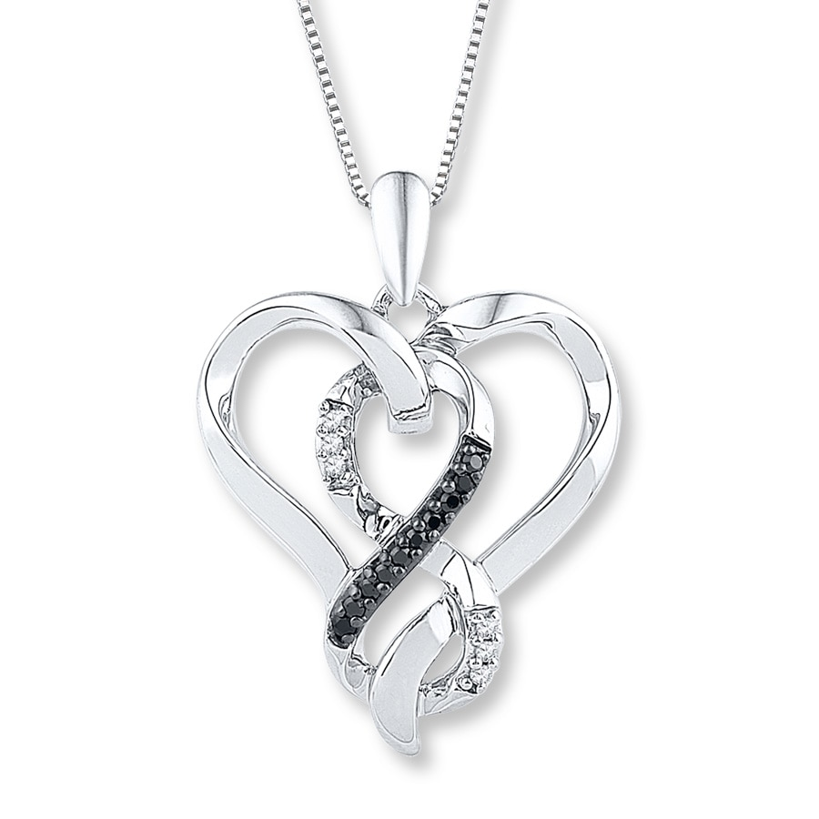 Jared Diamond Heart Necklace 110 ct tw BlackWhite Sterling Silver
