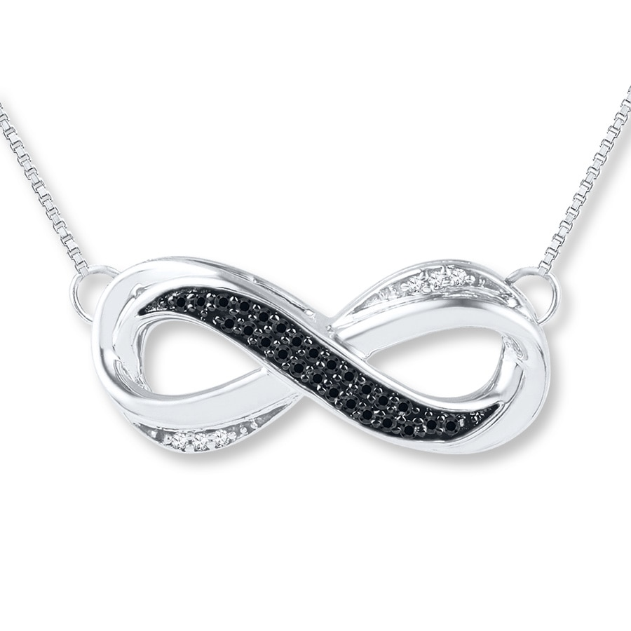 Jared diamond infinity necklace 110 cttw blackwhite sterling hover to zoom mozeypictures Choice Image