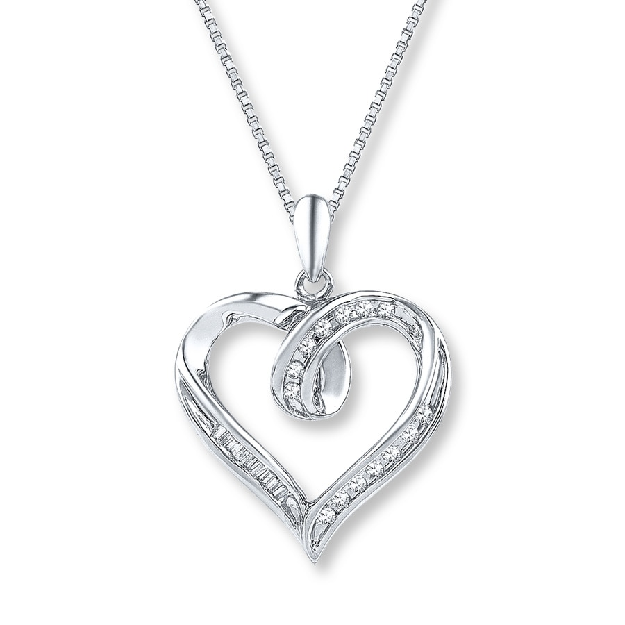 women b necklace silver zirconia itm jewelry cubic catcher heart love sterling