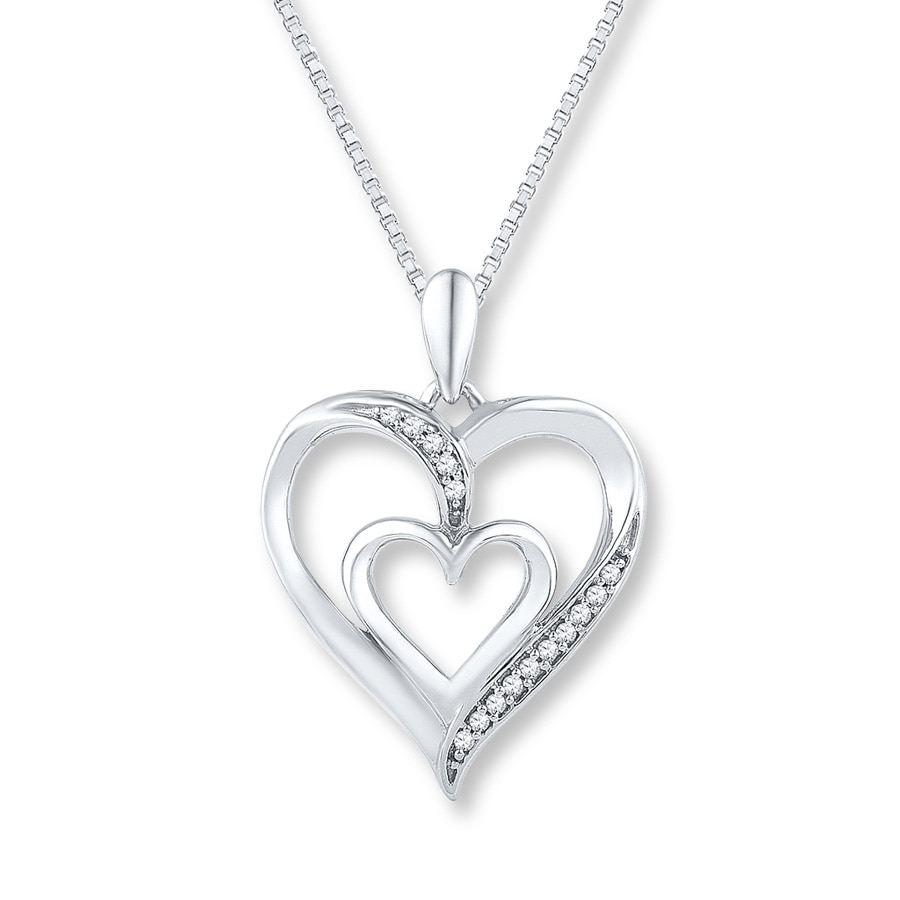 Jared Diamond Heart Necklace 120 ct tw Roundcut Sterling Silver
