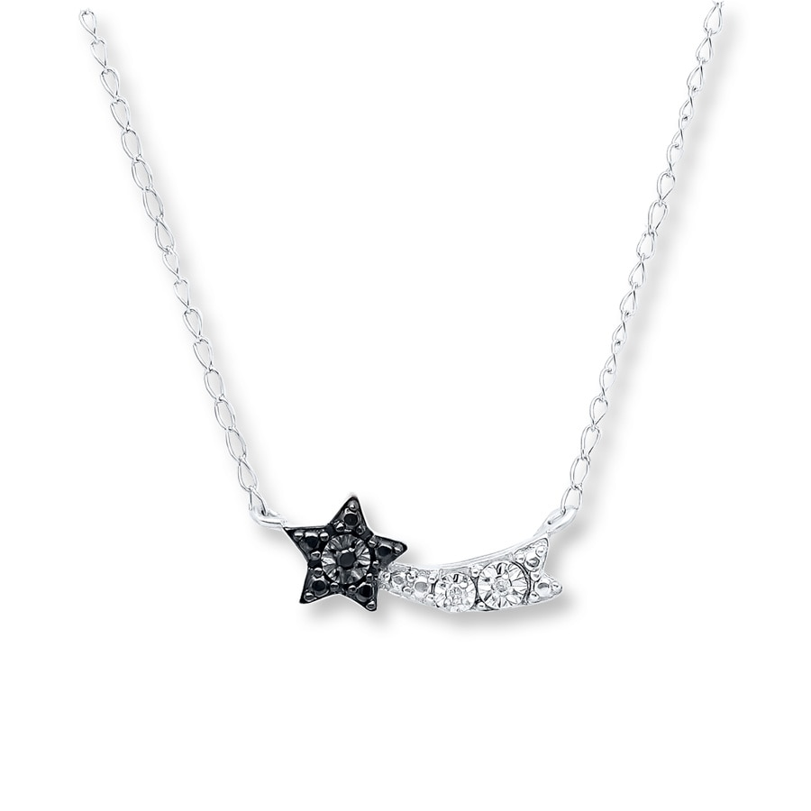 Young Teen Shooting Star Diamond Necklace Sterling Silver