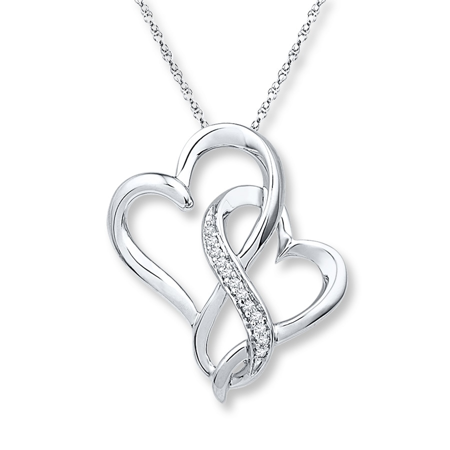 Jared Infinity Heart Necklace 120 ct tw Diamonds Sterling Silver