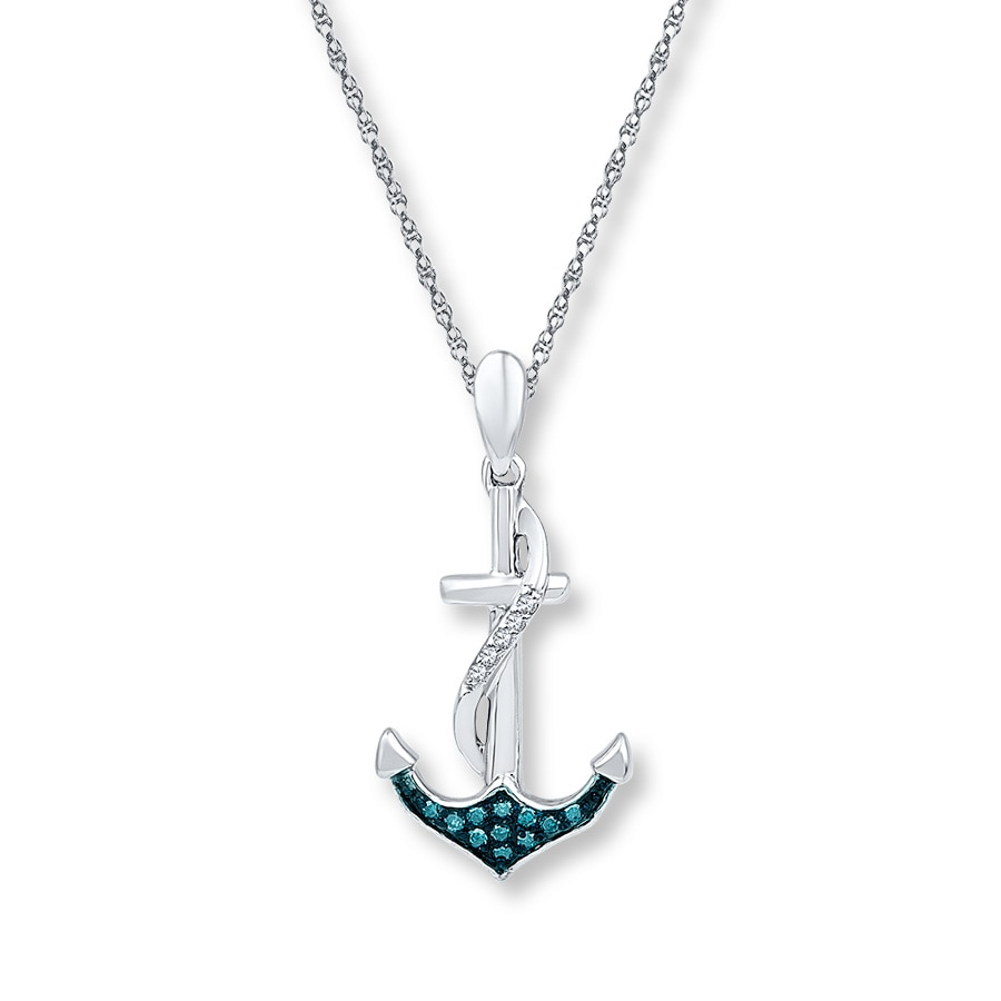 Jared Anchor Necklace 115 ct tw Blue Diamonds Sterling Silver