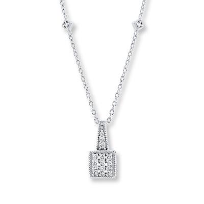 Diamond Necklace 1/4 ct tw Round-cut 10K White Gold