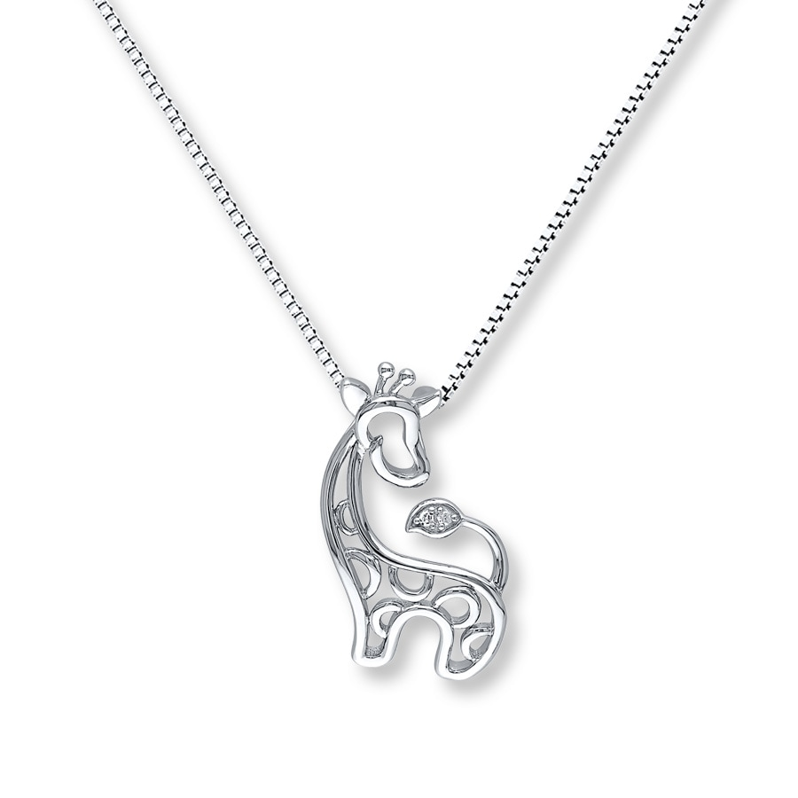 in baby original pendant mother thumbnail silver necklace and giraffe silhouette animal dotoly kissing shaped a products