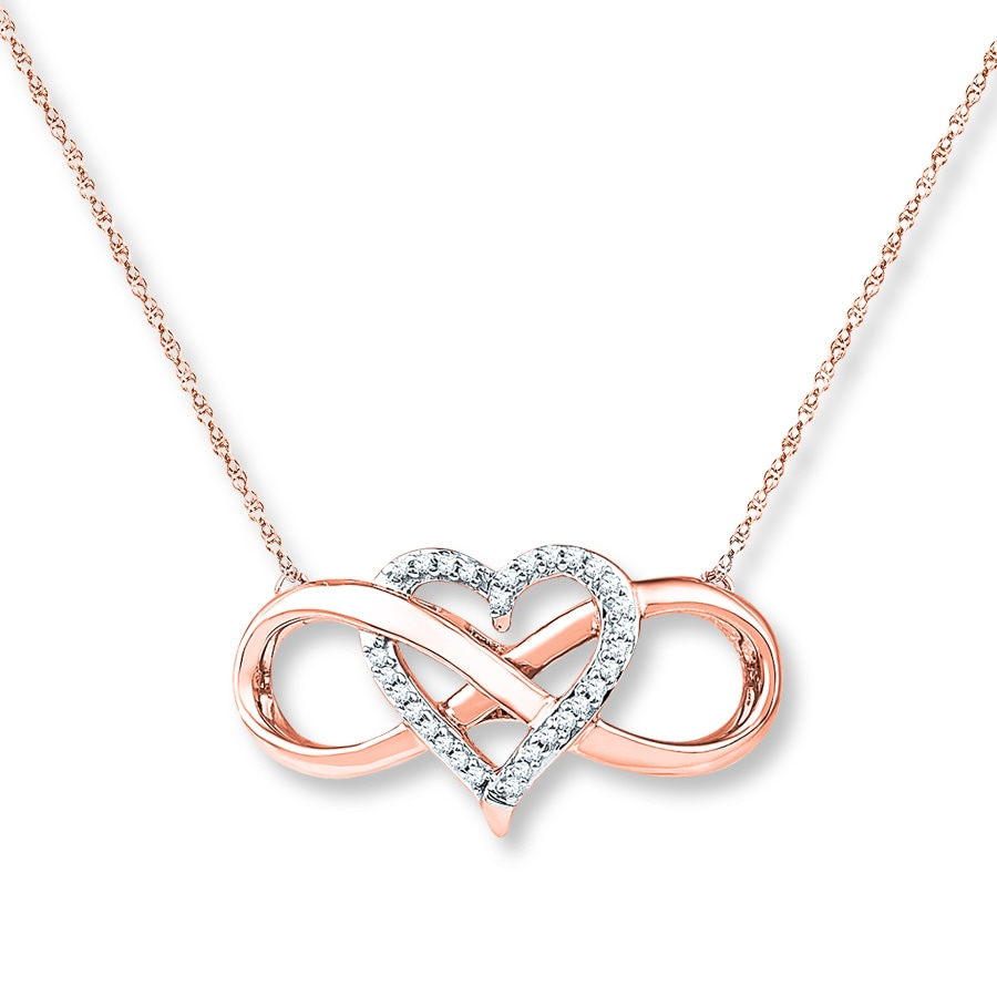 Jared Heart Infinity Necklace 110 ct tw Diamonds 10K Rose Gold