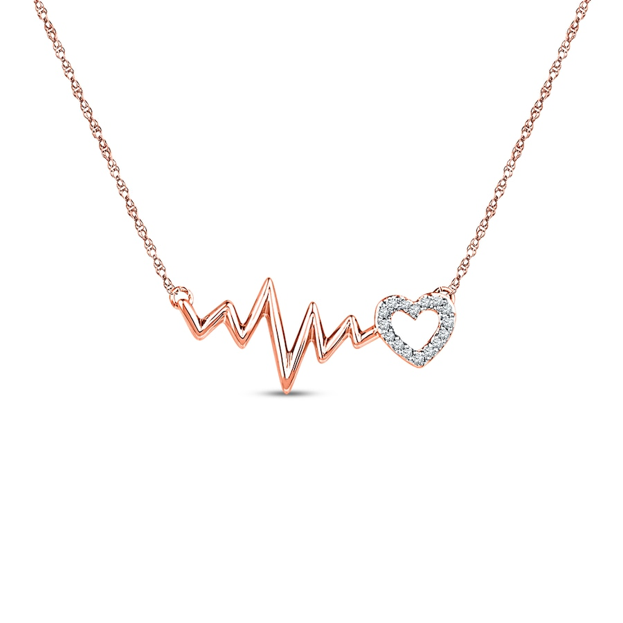 heartbeat necklace 1  20 ct tw diamonds 10k rose gold - 173294808