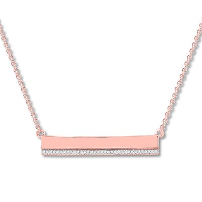 """""""Courage"""" Diamond Bar Necklace 1/20 ct tw 10K Rose Gold"""