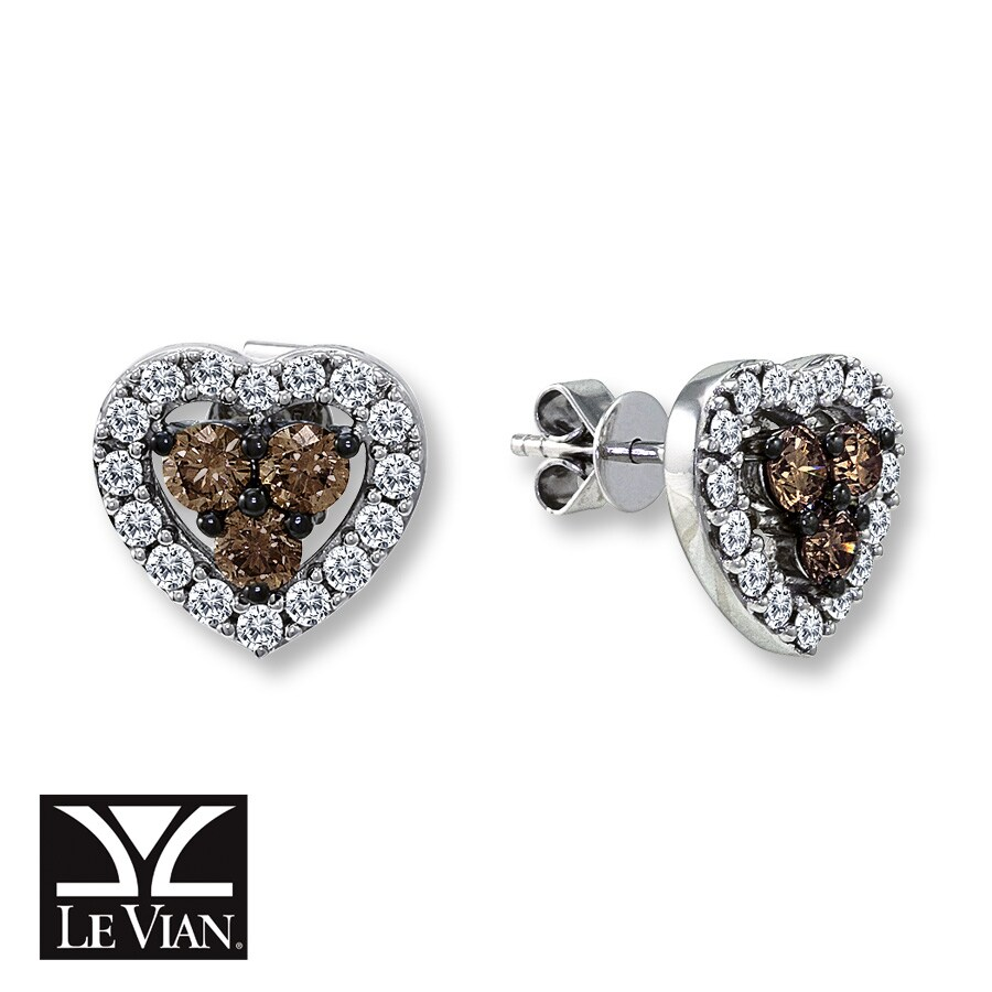 Jared LeVian Chocolate Diamonds 113 cttw Heart Earrings 14K Gold
