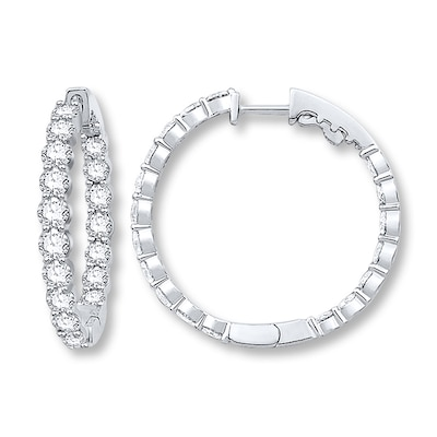 Jared Diamond Hoop Earrings 5 ct tw Round-cut 14K White Gold- Birthstones