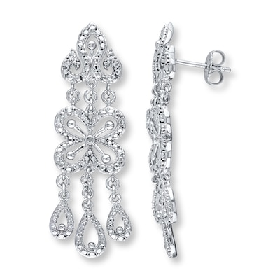 Jared Chandelier Earrings Diamond Accents Sterling Silver- Drop