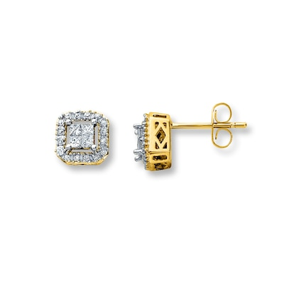 Jared Diamond Earrings 1/4 ct tw Princess/Round 10K Yellow Gold- Stud