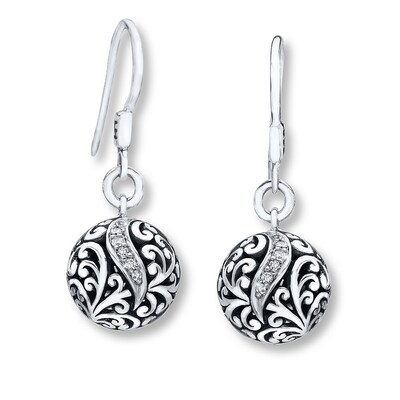 Jared Lois Hill Earrings 1/10 ct tw Diamonds Sterling Silver- Drop