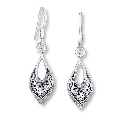 Jared Lois Hill Earrings 1/3 ct tw Diamonds Sterling Silver- Drop