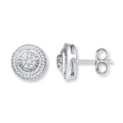 Jared Diamond Earrings 1/2 ct tw Round/Baguette 10K White Gold- Stud