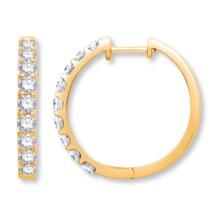 14k Diamond-cut Hinged Hoop Earrings New Yellow Gold Jewelry & Watches Fine Earrings