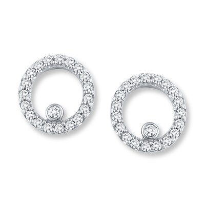 Diamond Earrings 1/5 ct tw Round-cut 10K White Gold