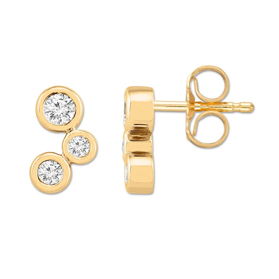 accf7229e Diamond Earrings 1/3 ct tw Bezel-set Round 10K Yellow Gold. Stock  #182202705 Read Reviews (1). Tap to expand