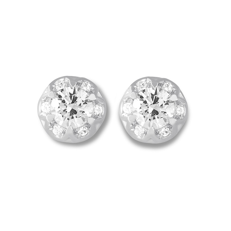 Diamond Stud Earrings 1 Carat Tw Round 14k White Gold Jared