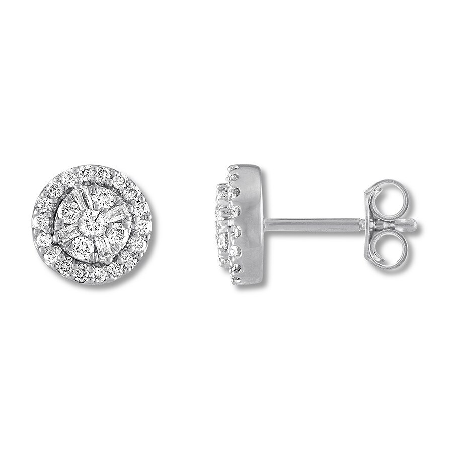 68ebe3b2e Round & Baguette Diamond Earrings 1/3 Carat tw 10K White Gold. Stock  #182474306 Write A Review. Tap to expand